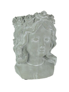 Whitewashed-Gray-Concrete-Flower-Girl-Wall-Mount-Head-Planter-9-25-Inches-High