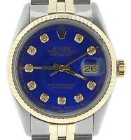 Rolex Datejust Mens 2Tone 18K Gold & Steel w/ Submariner Blue Diamond Dial 16013