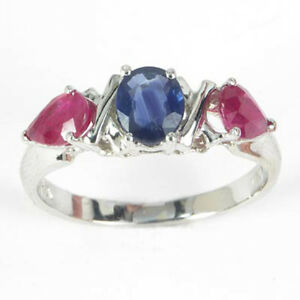Sapphire And Ruby Three-stone Ring Solid 14k Gold Ring In Sizes 4 To 9.5. Fine Jewelry