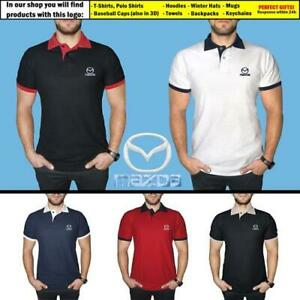 Mazda-Polo-T-Shirt-COTTON-EMBROIDERED-Auto-Car-Logo-Tee-Mens-Clothing-Gift