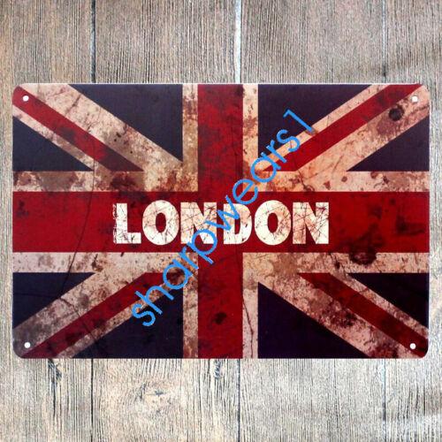 Metal Tin Sign LONDON BRITAIN  Pub Bar Vintage Retro Poster Cafe ART