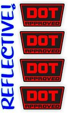 REFLECTIVE Red DOT Approved Motorcycle Helmet Stickers Hard Hat Decals Labels