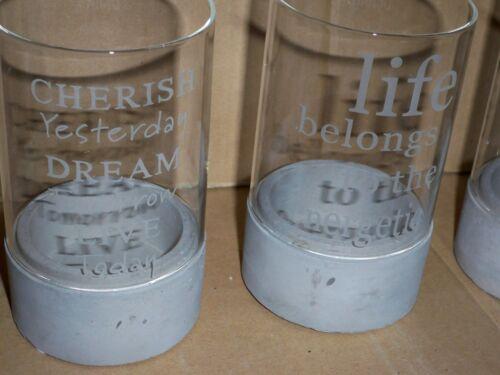 Lumignons réservé-Set 3 pièces pour lumignons cigare Bougies béton verre Impressionen