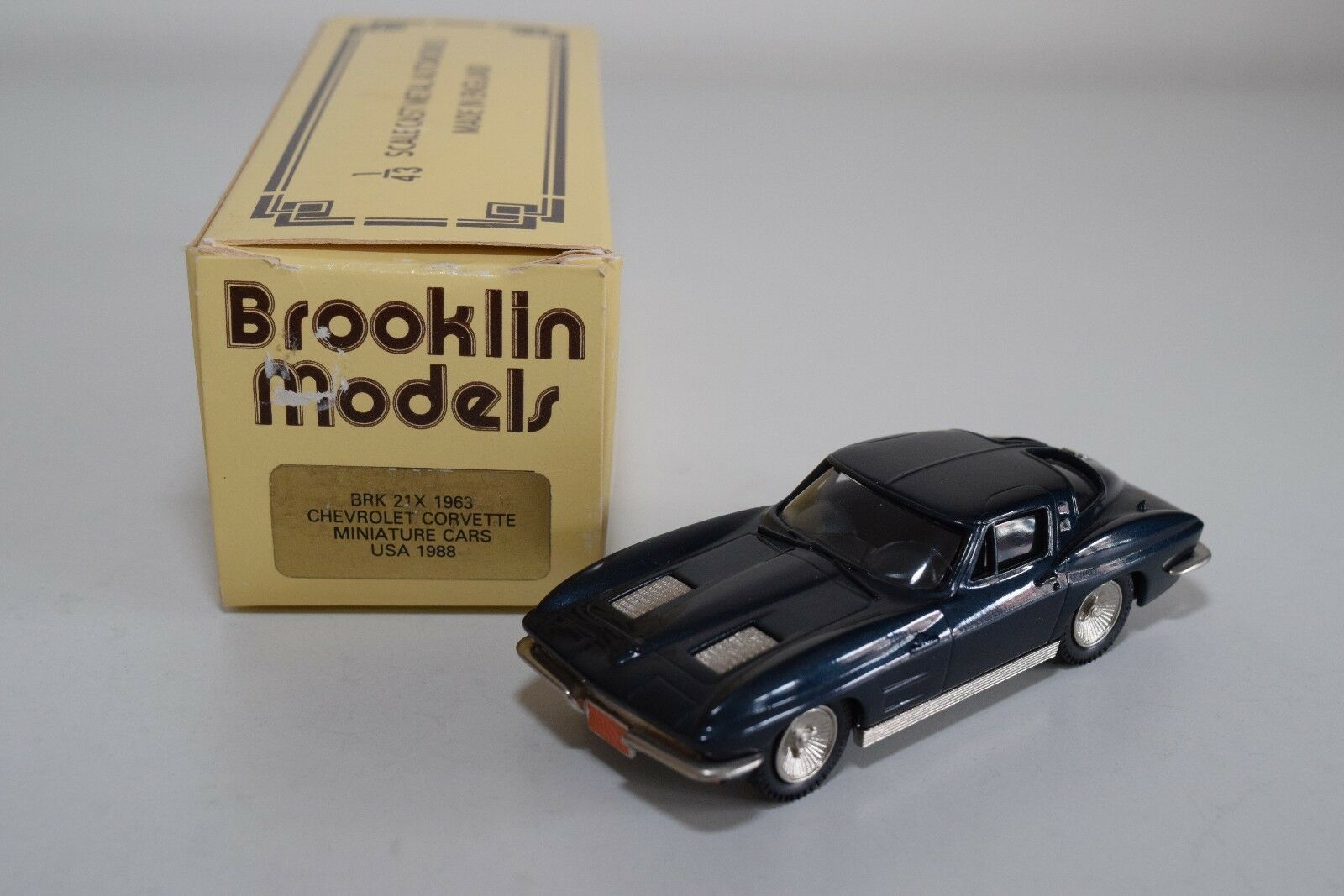 BROOKLIN BRK 21 BRK21 1963 CHEVROLET CORVETTE USA 1988 blueE MINT BOXED