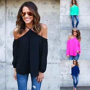 Fashion-Womens-Summer-Loose-Casual-Chiffon-Off-Shoulder-Shirt-Ladies-Tops-Blouse