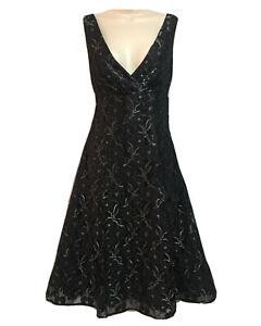 Elegant Women's UK 10 Black Silver Lace Evening Dress Fit & Flare Party Cocktail