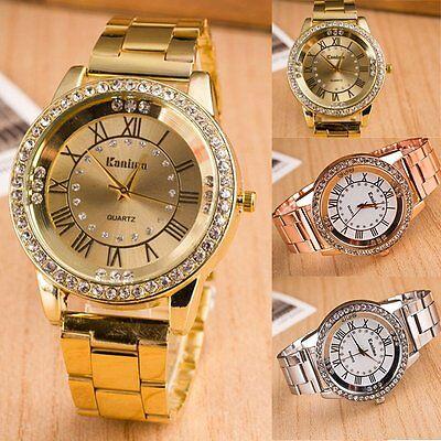 Fashion Women Lady Roman Stainless Steel Band Crystal Analog Quartz Wrist Watch