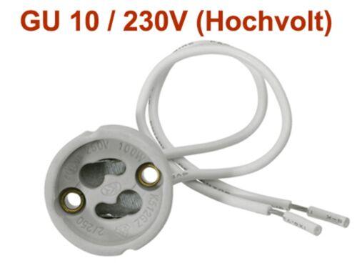 auch für Umrüstung! 10x Hochvolt Fassung GU10 230V Keramik Halogen LED