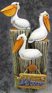 Ceramic Bisque Ready to Paint Pelicans on a Pier Stump with Welcome sign