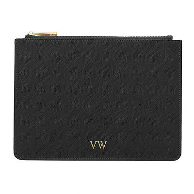 PERSONALISED MONOGRAMMED Genuine Leather Women's Pouch Clutch Handbag Black