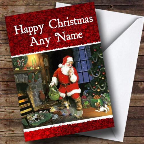Santa Shhh Carte de voeux de Noël Personnalisé