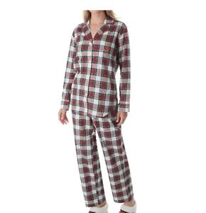 8b00a052 Details about Lauren Ralph Lauren Sleepwear Brushed Twill Long Sleeve Notch  Collar PJ Set