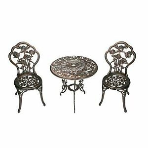 Patio Furniture Bistro Set Rust Free Aluminum Cast Iron Antique Bronce Garden