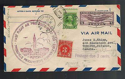 Briefmarken 1933 Springfield Ma Usa First Flight Abdeckung Versand Wegen Kanada Bereitstellung Von Annehmlichkeiten FüR Die Menschen; Das Leben FüR Die BevöLkerung Einfacher Machen