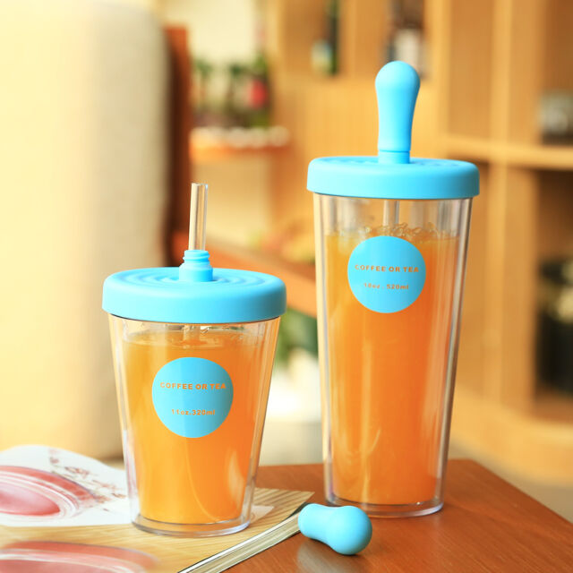24oz BPA Free Water juice  Portable Sports Bottle with Straw Plastic Cup Mug New
