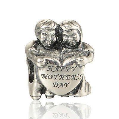 """Happy Mother's Day"" GENUINE Authentic STERLING SILVER CHARM BEAD FOR BRACELET"