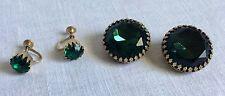 Vintage Clip & Screw Down Earrings Emerald Green Stones.