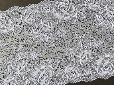 "laverslace White Satin Embroidered Tulle Lace Trim 5.5/""//14cm"