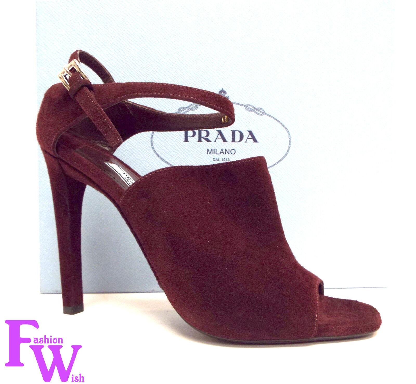 Nuevo Prada Talla 9 Burdeos Gamuza Puntera Abierta y y y Correa en el Tobillo tacones sandalias Zapatos 40  ventas en linea