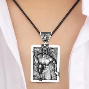Vintage-Thriller-Devil-Demon-Horn-Skull-Punk-Pendant-Free-Necklace-W4H3-K5W2