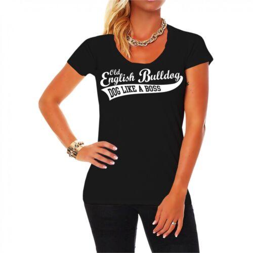 Frauen Girls T-Shirt Old English Bulldog Rasse Hunde dogs breed Begleithund USA