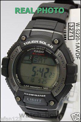 W-S220-1A 120 Lap Memory Casio Watch Tough Solar Sporty Black WS-220-1A