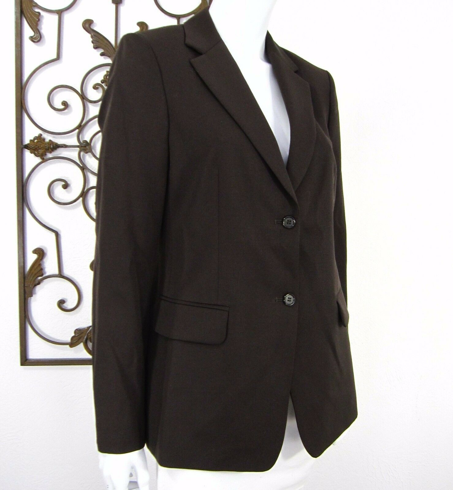 766e1b53722 J Crew long sleeve wool BLAZER 10 brown single breasted two button notch  lapel