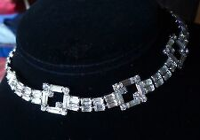 Vintage Necklace Glamorous 1980's Art Deco Crystal Rhinestone Collar