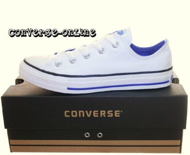 e5b81bc8afea KIDS Older Boy s Girls CONVERSE All Star WHITE BLUE Low Trainers Shoes UK  SIZE 1