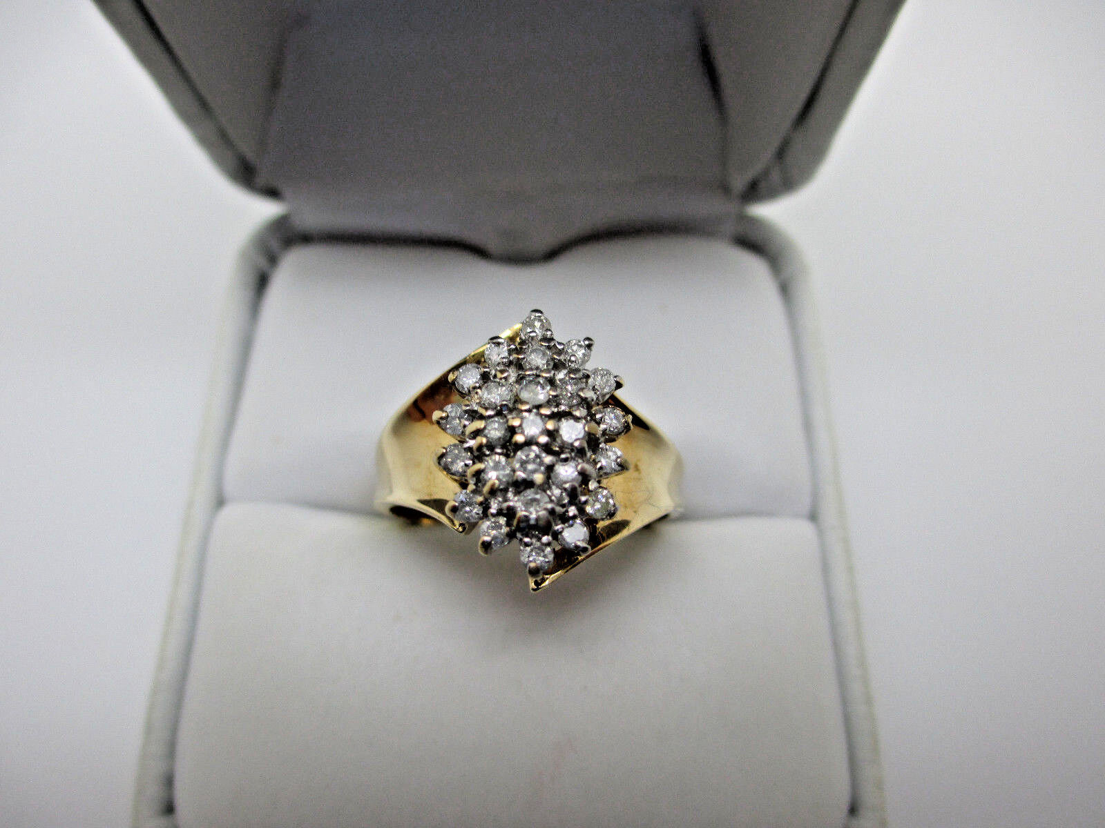 Antique Russian Style Solid 10K Yellow gold 30 Natural Diamonds Engagement Ring