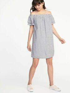 85104ef0273b Old Navy Off-the-Shoulder Shift Dress for Women Blue White Stripe M ...