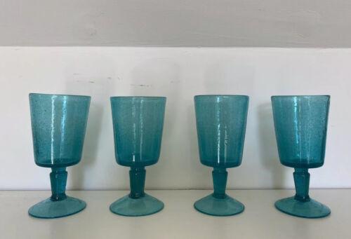 Pols Potten Set de 4 verres à vin-bleu ciel Bulle Verre Entièrement neuf dans sa boîte