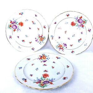 Lot-3-Schumann-Bavaria-Porcelain-Dinner-Plates-Germany-Floral-Pattern-Gold-Trim