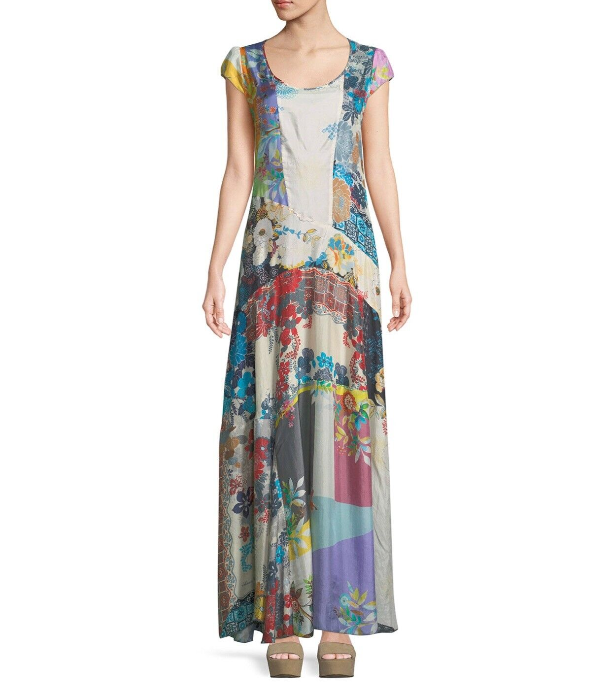 NWT Johnny Was Patchwork Cotton Voile Maxi Maxi Maxi Dress, Ivory color, Size XL 9b24f9
