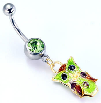 """14g 7//16/"""" Peridot Gem with Cute OWL Belly Ring"""