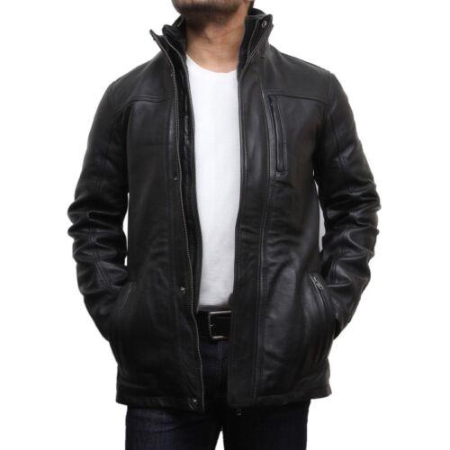 de hombre Vintage Chaqueta Brandslock biker Brando genuino de para cuero 5z1wX