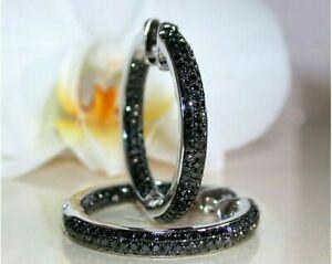 14K-White-Gold-Finish-2-00-Ct-Round-Cut-Black-Diamond-Huggie-Hoops-Earrings