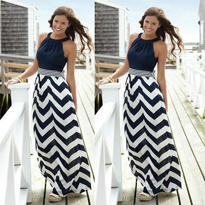 Sexy Women Boho Summer Sleeveless Long Maxi Dress Evening Party Beach Sundress