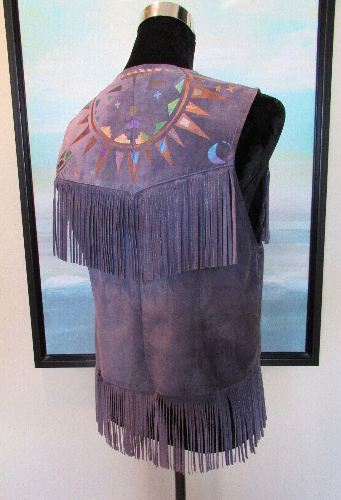 CHAR Santa Fe Purple Suede Fringed Hand Painted Vest Sz S