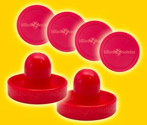 "2 Air Hockey Pushers-Red/Gr<wbr/>een Felt & 4 Round 2-1/2"" Red Pucks - Table Hockey"