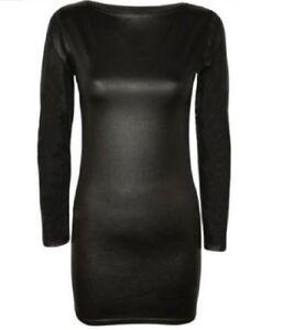 Womens-Ladies-PVC-PU-Leather-Long-Sleeve-Celeb-Wet-Look-Bodycon-Mini-Dress