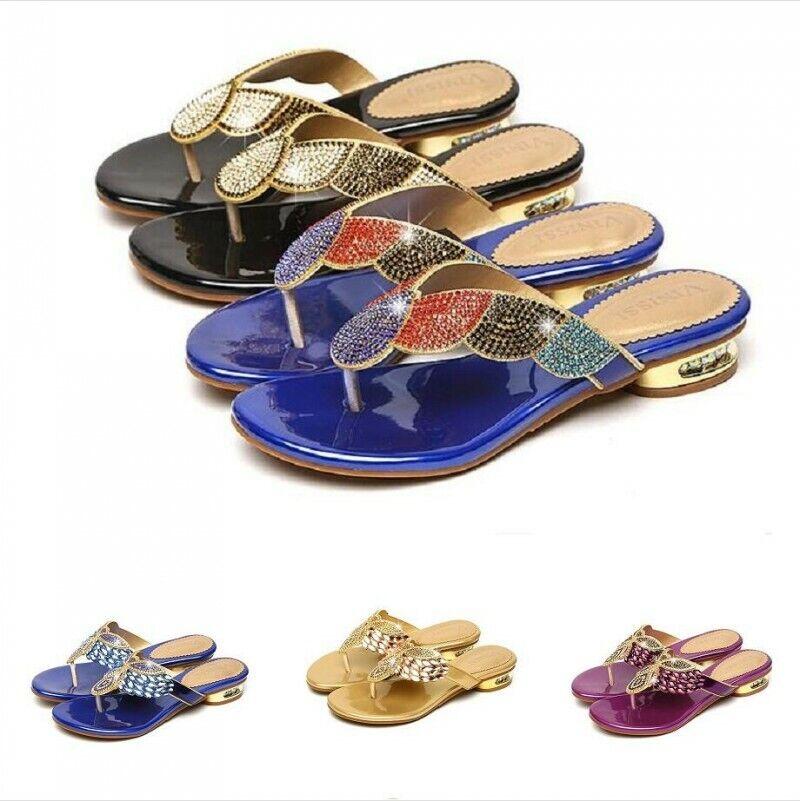 Para mujeres Cristal Sandalias Tacón Bajo Zapatos Puntera De Diamantes De Imitación Clip Zapatillas De Playa Resbalón En