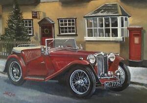 MG TC Classic Vintage Car Christmas Xmas Card | eBay
