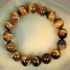 Men Women 8mm Natural Tiger's Eye Stone Round Beads Bracelet Charm Jewelry Gift