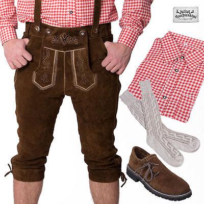 5-tlg.Trachtenset: Lederhose Kniebund dunkelbraun Gr.44-70 Hemd rot Socken lang