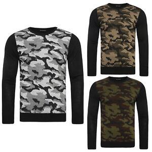 897faafb9c7e Das Bild wird geladen OZONEE-Herren-Pullover-Strickpullover -Sweats-Camouflage-Strick-BLACK-