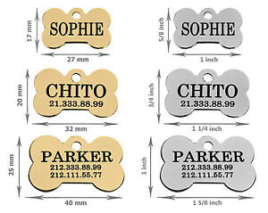Dog-Personalised-ID-Tag-Custom-Laser-Engraved-Bone-Shape-Brass-Steel-Gold-Plated