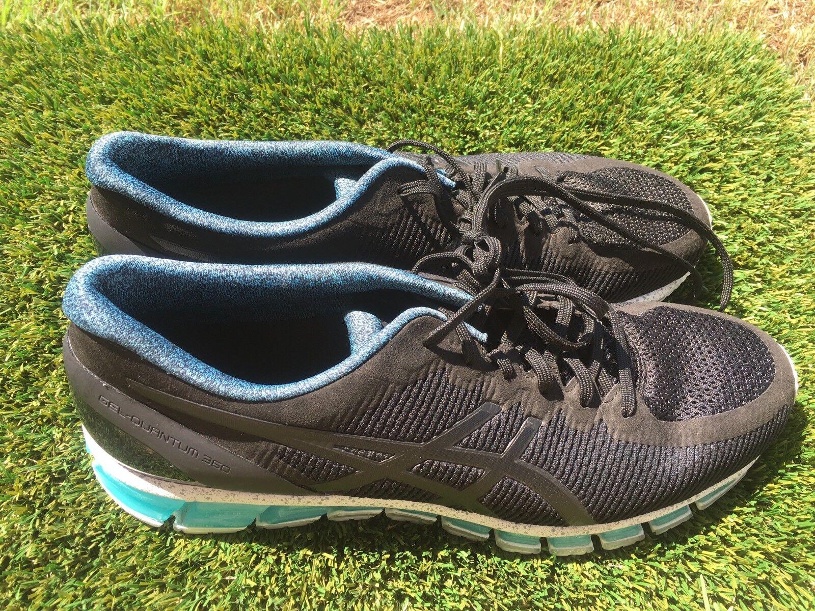 Men's Asics Gel 360 Black White Blue Running Shoes Size 14