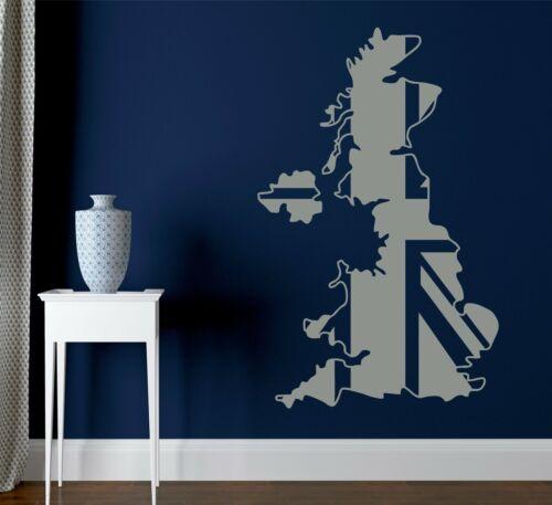 United Kingdom Map Union Jack Britain Decorative Vinyl Wall Sticker Earth Murals
