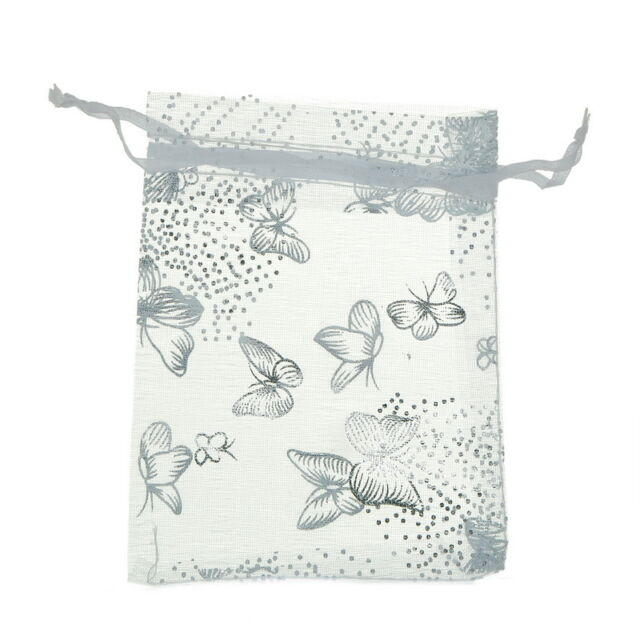 25pcs 9x12cm White Butterfly Organza Gift Pouch Bags Wedding X-mas Favor